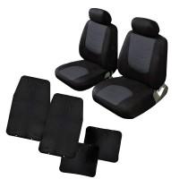 Kit Coprisedili Coppia anteriori con tappetini in gomma universali - adattabili airbag e bracciolo cod. Maracaibo+Praga