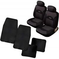 Coprisedili Coppia anteriori con tappetini in gomma universali - adattabili airbag e bracciolo cod. Santiago+Praga