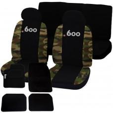 Coprisedili e tappetini con strappo Fiat 600 bicolore nero - mimetico classico