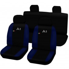 Coprisedili Audi A1 bicolore nero - blu scuro