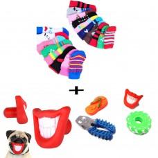 3 giochi per cane + Un set di 4 calzini antiscivolo