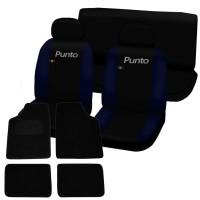Coprisedili Fiat Punto bicolore nero - blu scuro + tappettini con strappo universali