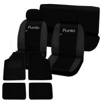 Coprisedili Fiat Punto bicolore nero - grigio scuro + tappetini con strappo universali