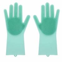 Coppia di guanti in silicone con setole per lavaggio scrubber multifunzione per cucina, bagno, macchina