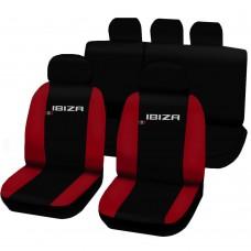 Coprisedili Seat Ibiza dal 2008 in poi bicolore nero - rosso