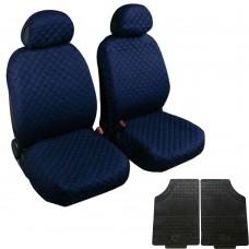 Coprisedili coppia anteriore trapuntato blu + coppia di tappetini gomma anteriori