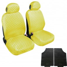 Coprisedili coppia anteriore trapuntato giallo + coppia di tappetini gomma anteriori