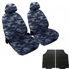 Coprisedili coppia anteriore mimetico blu + coppia di tappetini gomma anteriori
