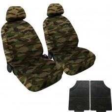 Coprisedili coppia anteriore mimetico classico + coppia di tappetini gomma anteriori