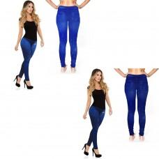 2 Leggings da Donna Effetto Jeans colorati Blu Chiaro e Blu Scuro Taglia Unica mod. A21