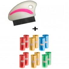 Spazzola pettine antipulci per animali con denti stretti cod. 5818 + 90 sacchetti igienici per cane
