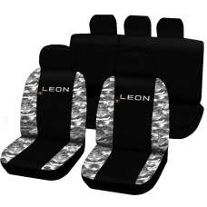 Coprisedili Seat Leon bicolore nero - mimetico chiaro