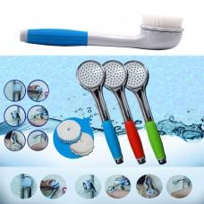 Doccetta con due spazzole scambiabili per massaggiare e pulire il corpo