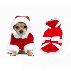 Costume di Natale Calda con Cappuccio per Cani di Varie Misure
