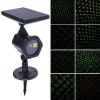 Proiettore Laser a Luci Led con Pannello a Luce Solare a luci Rosse e Verdi cod. 0822