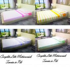 Completo letto in Pile composto da lenzuolo + lenzuolo di sotto con maxi angoli e 2 federe cuscino