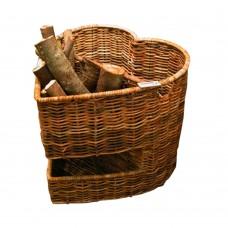 Cesto legna portalegna cuore 52,5x 53,5x 55cm cesta legno camino fuoco