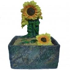 Fontana zen orientale girasole fiore