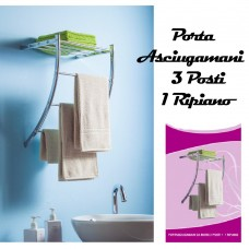 Porta asciugamani da bagno 3 posti con 1 ripiano portasciugamani Pratiko 597