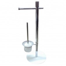 Piantana da bagno metallo cromato porta rotolo e scopino vetro bianco pratiko 776