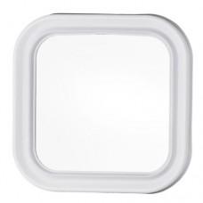 Specchio quadrato con cornice plastica bianca