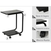 Tavolino Scrivania Multifunzionale per Laptop PC in Legno e Acciaio con 4 Ruote Piroettanti per ufficio casa