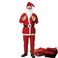 Costume babbo natale uomo con cappello barba pantalone giacca 01001