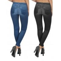 Leggings donna effetto jeans 2 colori (nero e blu) 2 pezzi