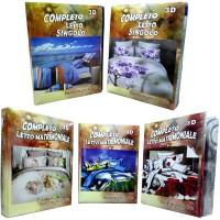 Completo letto stampa digitale 3d composto da lenzuolo + lenzuolo di sotto con maxi angoli e 2 federe cuscino