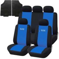 Coprisedili e tappetini in gomma per auto universali - A19 blu chiaro - nero