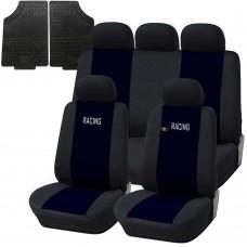 Coprisedili e tappetini in gomma per auto universali - A19 blu scuro - nero