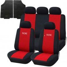 Coprisedili e tappetini in gomma per auto universali - A19 rosso - nero