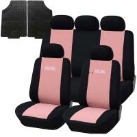 Coprisedili e tappetini in gomma per auto universali - A19 rosa - nero