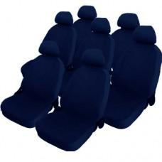 Coprisedili cotone blu per monovolume 7 posti auto