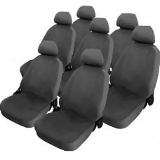 Coprisedili cotone grigio per monovolume 7 posti auto