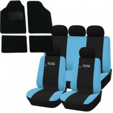 Coprisedili e tappetini in moquette per auto universali - Racing nero - azzurro