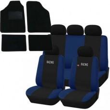 Coprisedili e tappetini in moquette per auto universali - Racing nero - blu scuro
