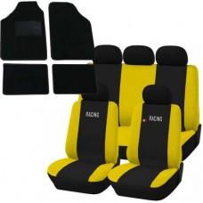 Coprisedili e tappetini in moquette per auto universali - Racing nero - giallo