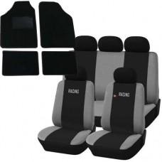 Coprisedili e tappetini in moquette per auto universali - Racing nero - grigio chiaro