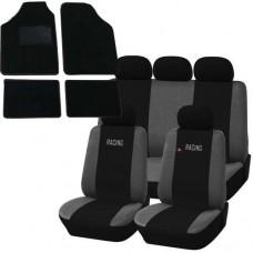 Coprisedili e tappetini in moquette per auto universali - Racing nero - grigio scuro