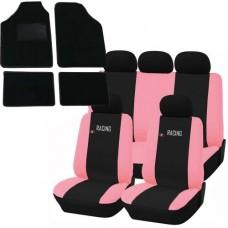 Coprisedili e tappetini in moquette per auto universali - Racing nero - rosa