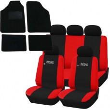 Coprisedili e tappetini in moquette per auto universali - Racing nero - rosso