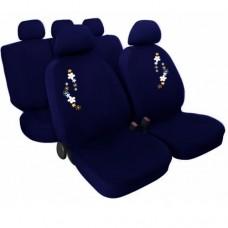 Coprisedili universali con fiore ricamato blu scuro