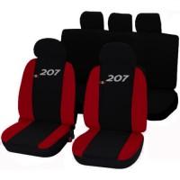 Coprisedili Peugeot 207 bicolore nero - rosso