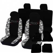 Coprisedili 500L bicolore mimetico chiaro-nero con tappetini in moquette