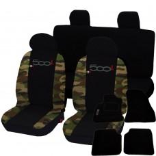 Coprisedili 500L bicolore mimetico classico-nero con tappetini in moquette