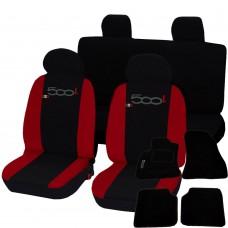 Coprisedili 500L bicolore rosso-nero con tappetini in moquette