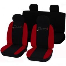 Coprisedili 500L bicolore rosso-nero