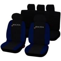 Coprisedili Nissan Micra bicolore nero - blu scuro