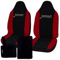 Coprisedili Smart fortwo - terza serie - bicolore nero rosso con tappetini in moquette